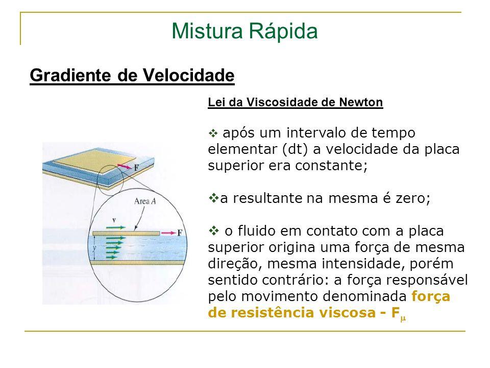 Mistura Rápida Gradiente de Velocidade a resultante na mesma é zero;