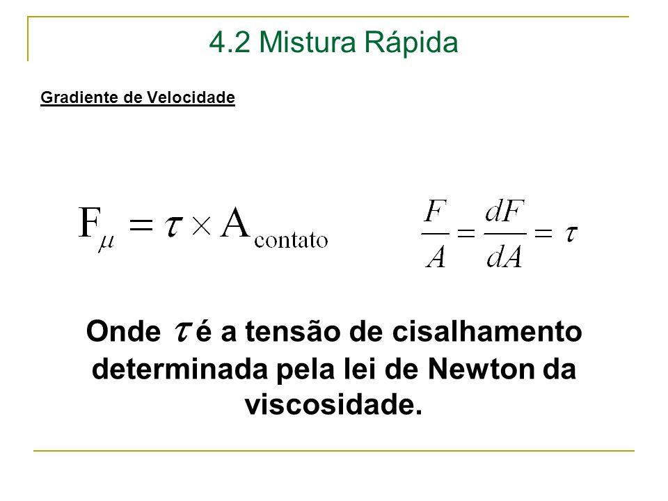 4.2 Mistura Rápida Gradiente de Velocidade. Onde  é a tensão de cisalhamento determinada pela lei de Newton da viscosidade.