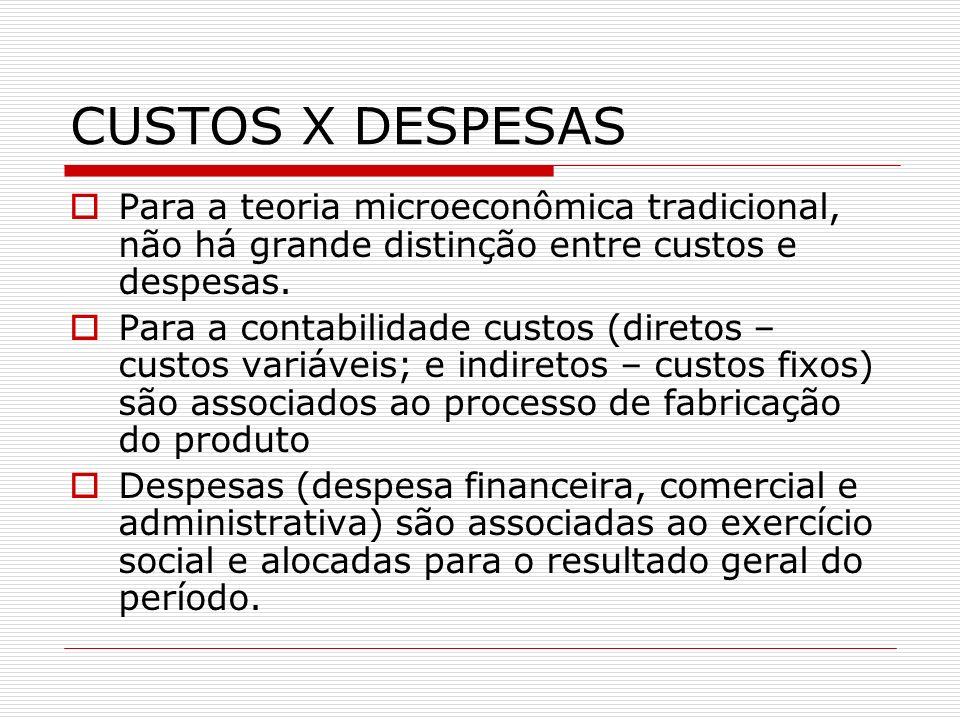 CUSTOS X DESPESASPara a teoria microeconômica tradicional, não há grande distinção entre custos e despesas.