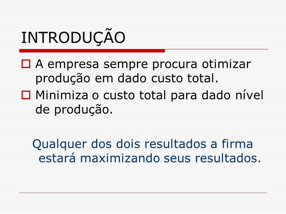 INTRODUÇÃO A empresa sempre procura otimizar produção em dado custo total. Minimiza o custo total para dado nível de produção.