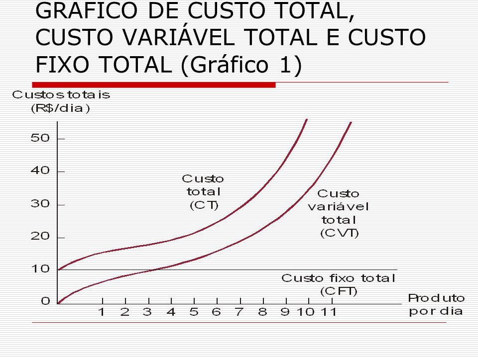 GRÁFICO DE CUSTO TOTAL, CUSTO VARIÁVEL TOTAL E CUSTO FIXO TOTAL (Gráfico 1)