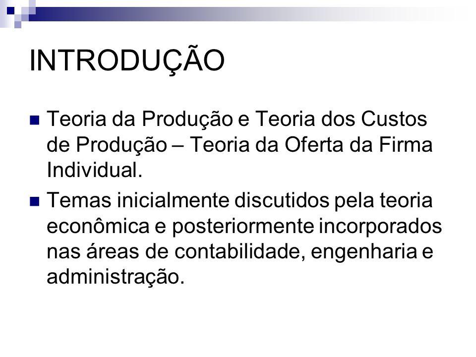 INTRODUÇÃO Teoria da Produção e Teoria dos Custos de Produção – Teoria da Oferta da Firma Individual.