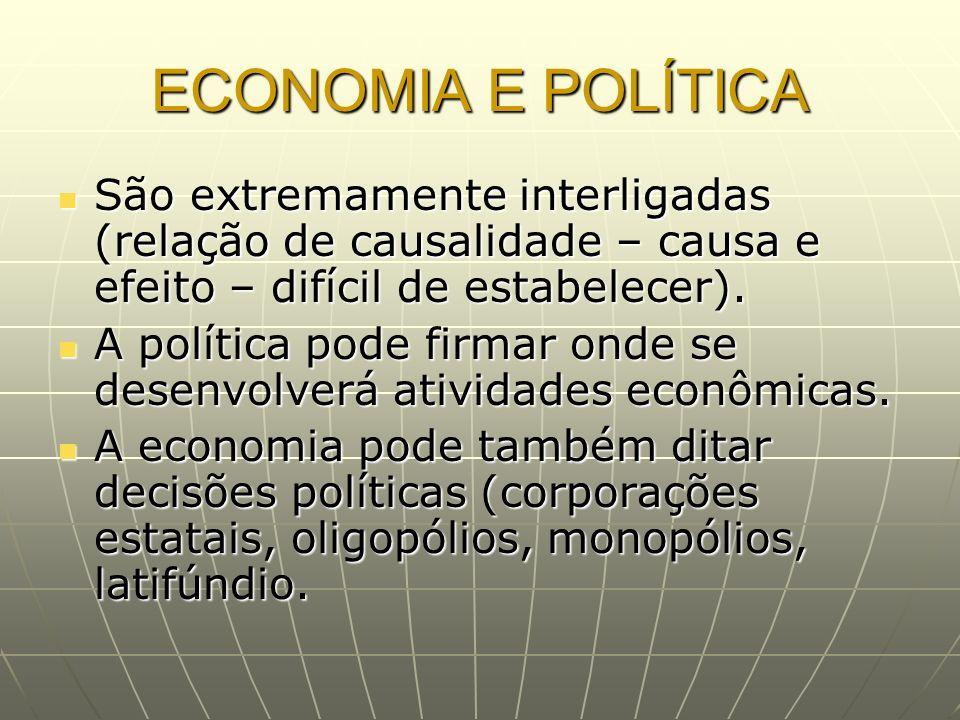 ECONOMIA E POLÍTICA São extremamente interligadas (relação de causalidade – causa e efeito – difícil de estabelecer).