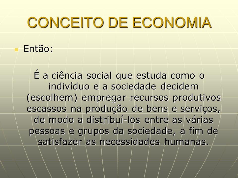 CONCEITO DE ECONOMIA Então: