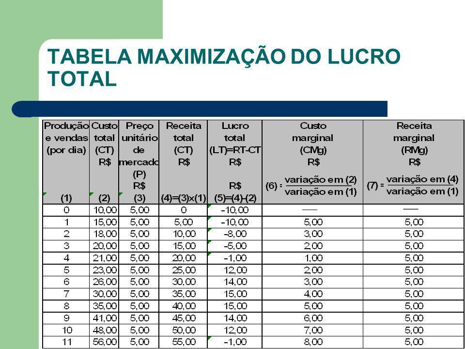 TABELA MAXIMIZAÇÃO DO LUCRO TOTAL