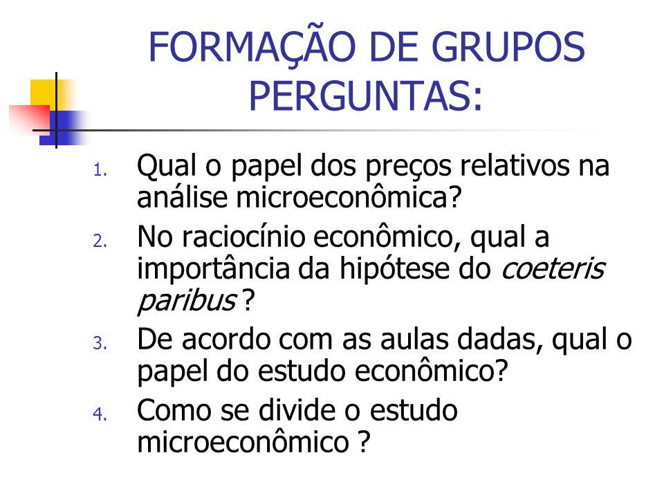FORMAÇÃO DE GRUPOS PERGUNTAS: