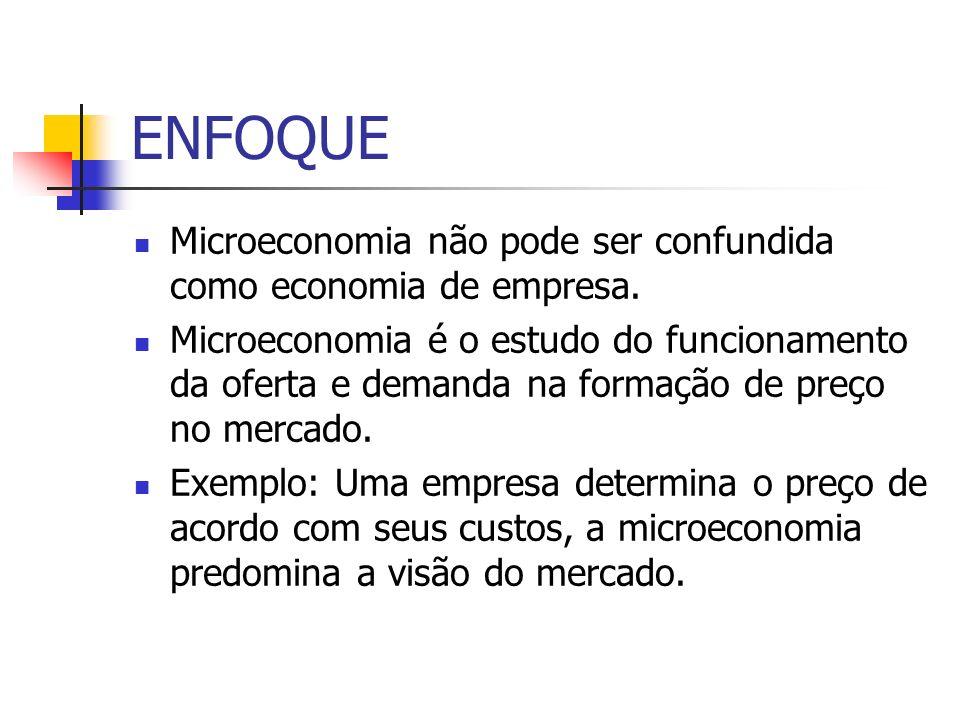 ENFOQUE Microeconomia não pode ser confundida como economia de empresa.