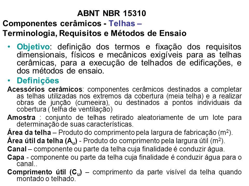 ABNT NBR 15310 Componentes cerâmicos - Telhas – Terminologia, Requisitos e Métodos de Ensaio