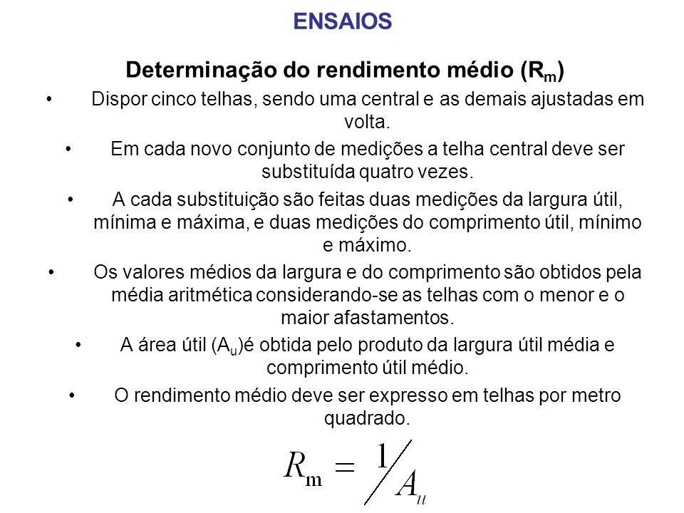 Determinação do rendimento médio (Rm)