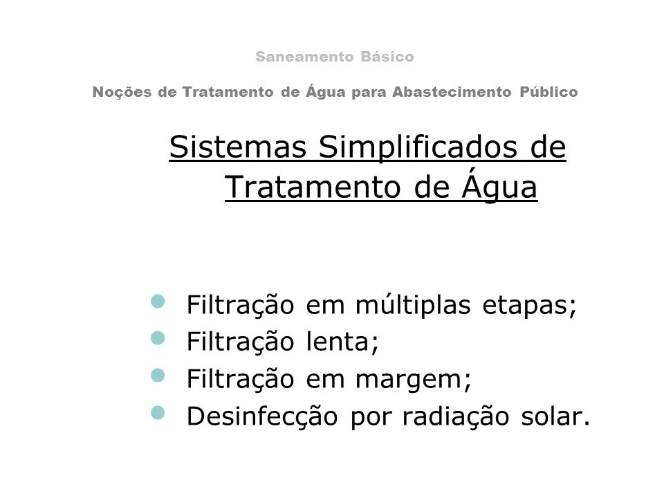Sistemas Simplificados de Tratamento de Água