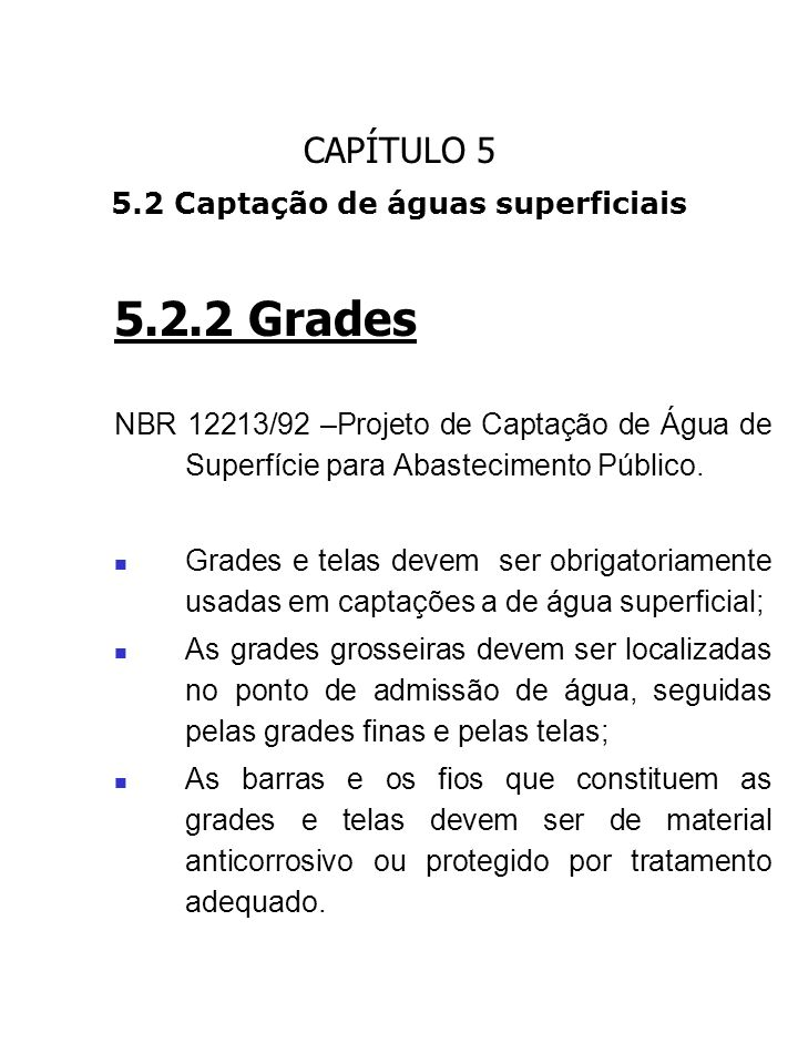 5.2 Captação de águas superficiais