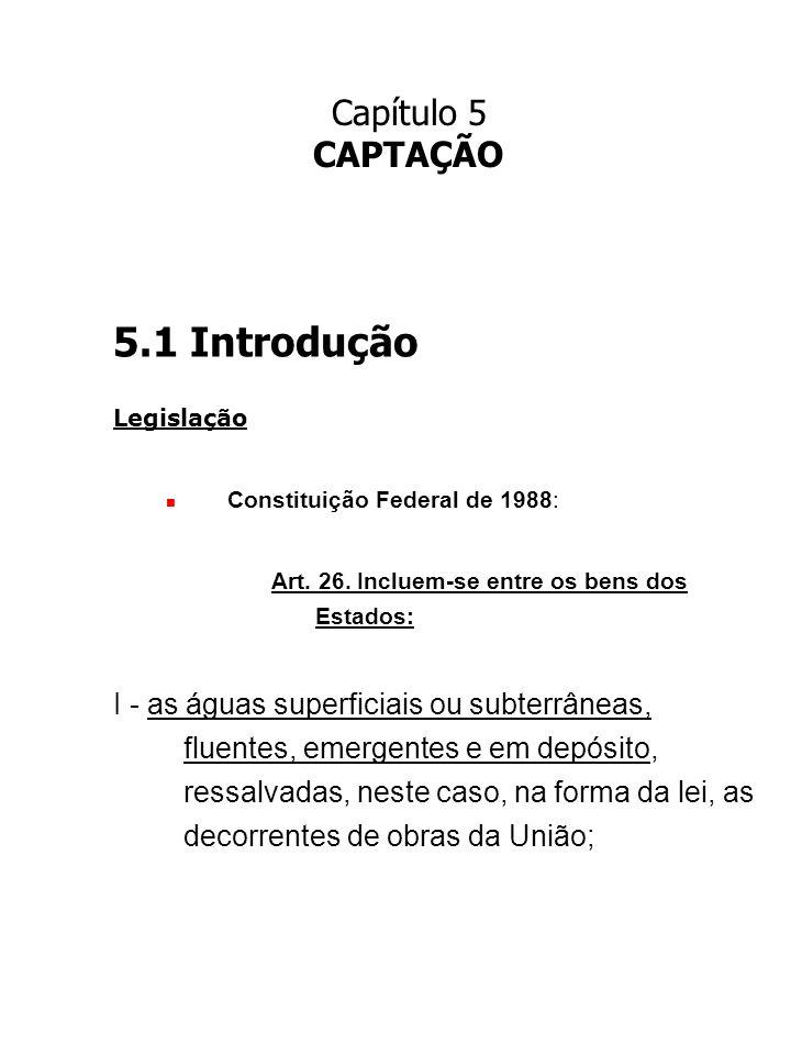 Capítulo 5 CAPTAÇÃO. 5.1 Introdução. Legislação. Constituição Federal de 1988: Art. 26. Incluem-se entre os bens dos Estados: