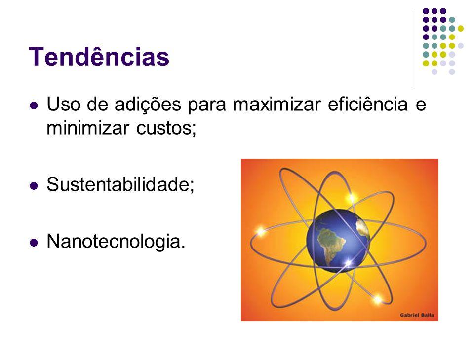 TendênciasUso de adições para maximizar eficiência e minimizar custos; Sustentabilidade; Nanotecnologia.