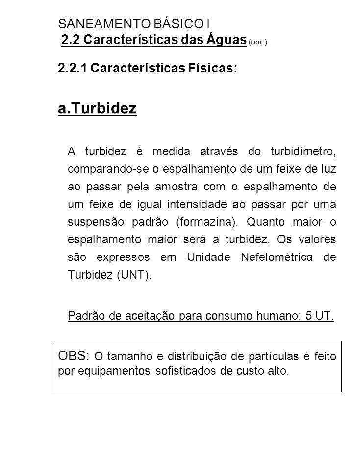 SANEAMENTO BÁSICO I 2.2 Características das Águas (cont.)