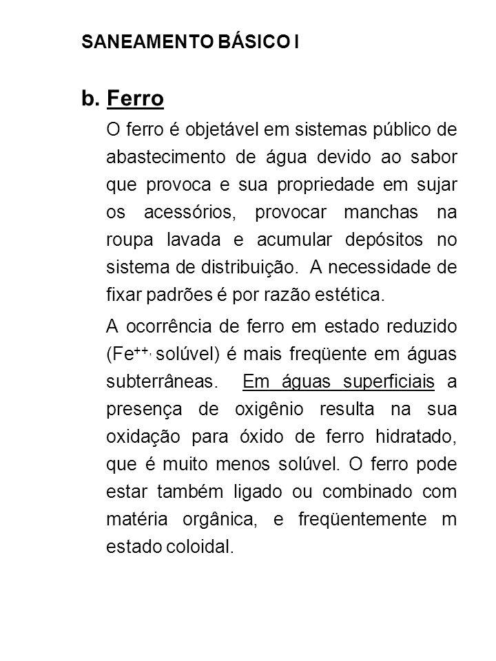 b. Ferro SANEAMENTO BÁSICO I