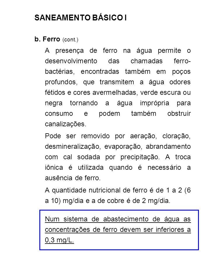 SANEAMENTO BÁSICO I b. Ferro (cont.)