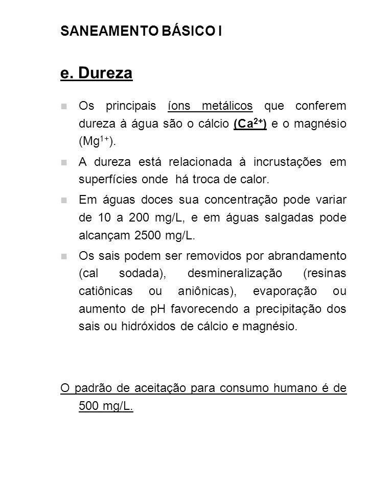 e. Dureza SANEAMENTO BÁSICO I