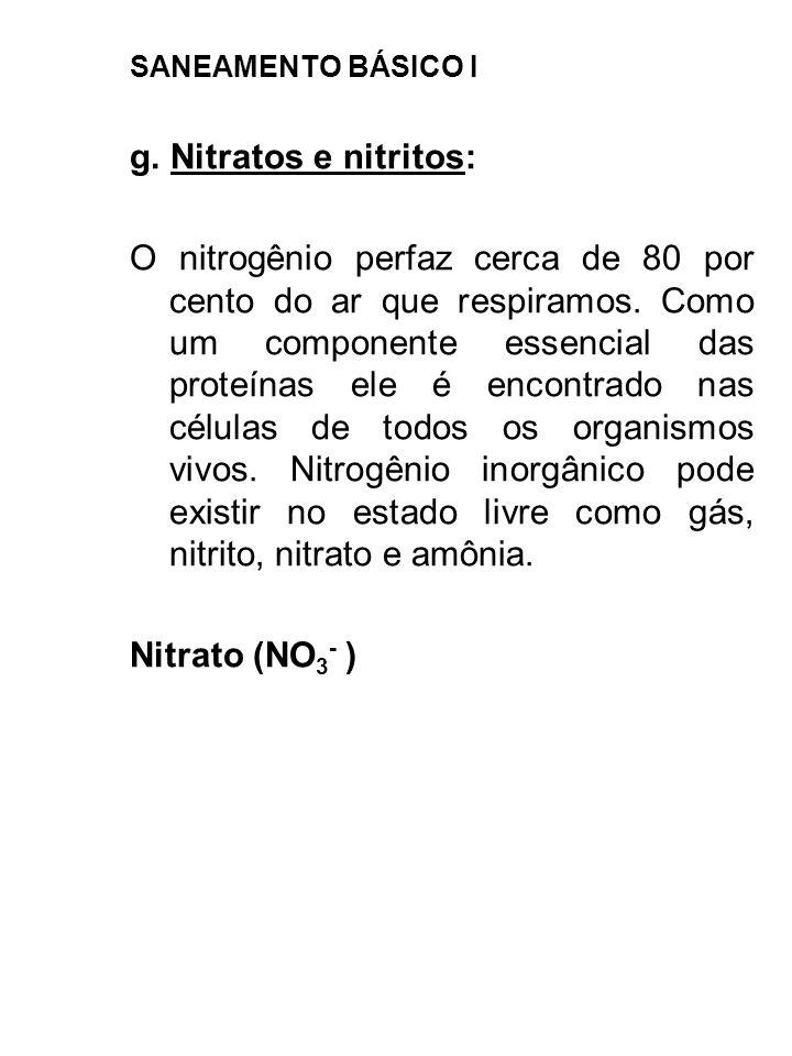 SANEAMENTO BÁSICO I g. Nitratos e nitritos: