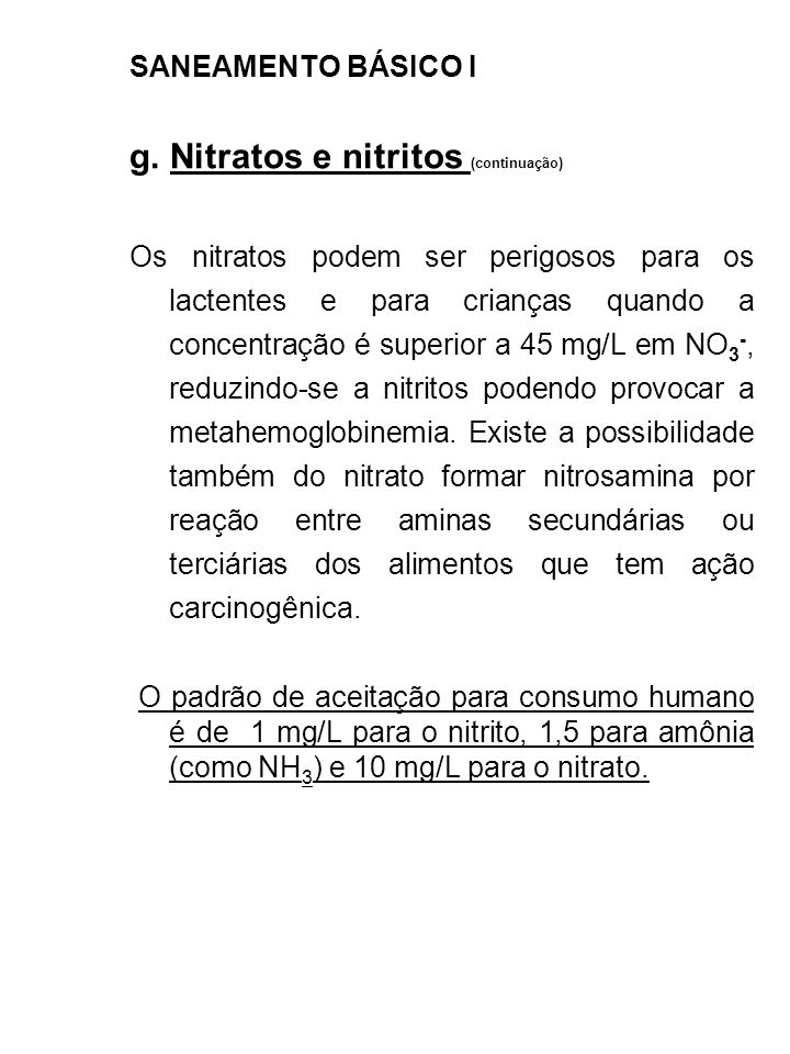 g. Nitratos e nitritos (continuação)
