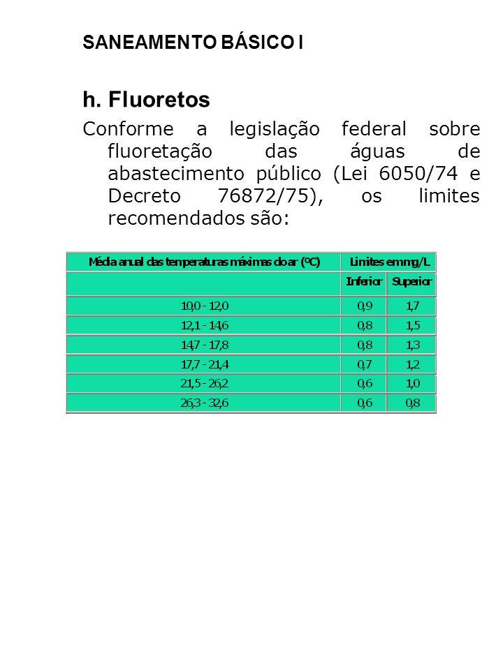 h. Fluoretos SANEAMENTO BÁSICO I