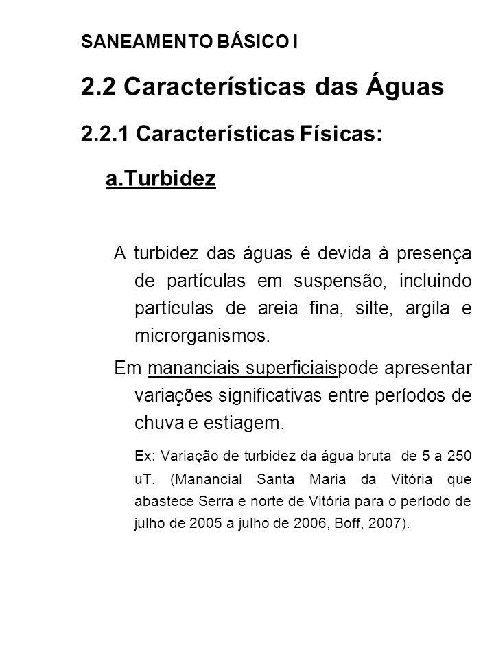 a.Turbidez 2.2 Características das Águas