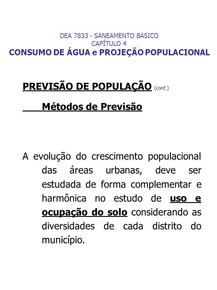 PREVISÃO DE POPULAÇÃO (cont.) Métodos de Previsão
