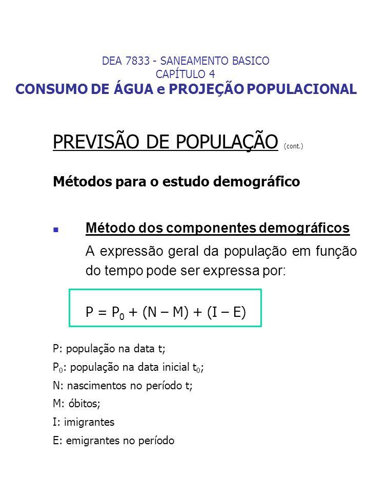 PREVISÃO DE POPULAÇÃO (cont.)