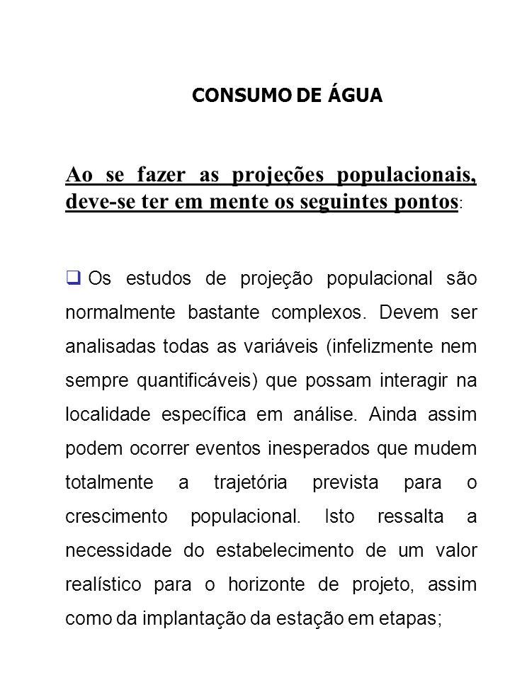 CONSUMO DE ÁGUA Ao se fazer as projeções populacionais, deve-se ter em mente os seguintes pontos: