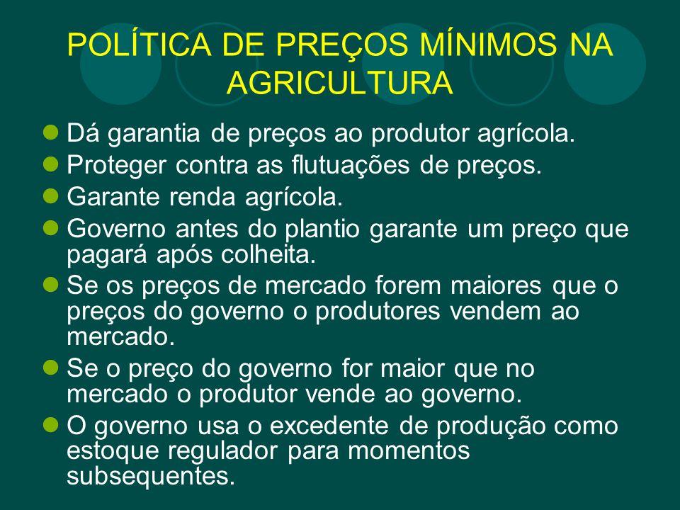 POLÍTICA DE PREÇOS MÍNIMOS NA AGRICULTURA
