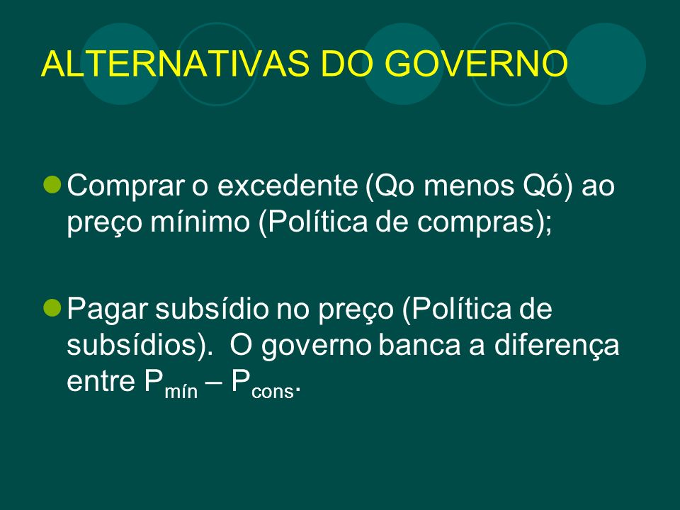 ALTERNATIVAS DO GOVERNO