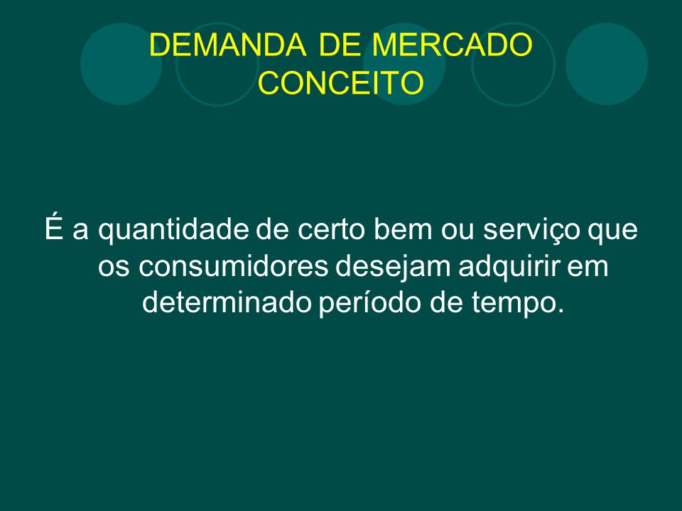 DEMANDA DE MERCADO CONCEITO