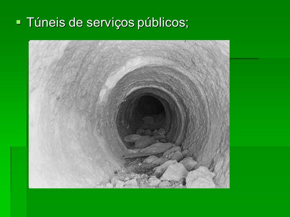 Túneis de serviços públicos;