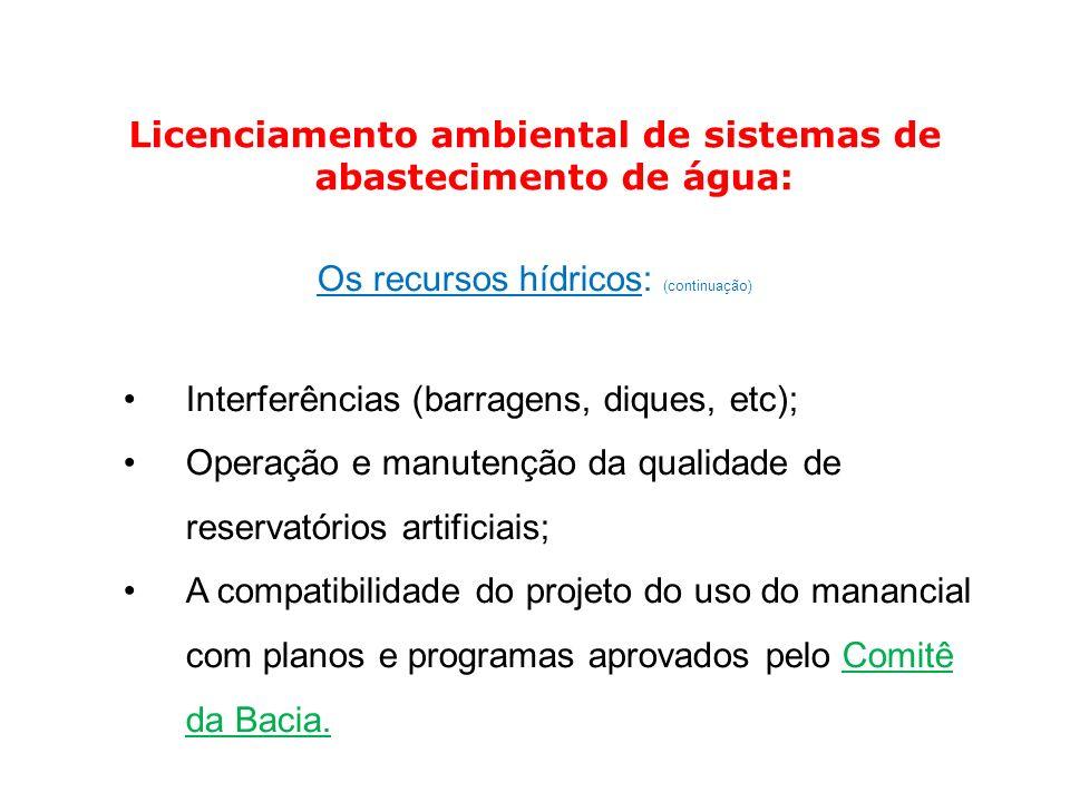 Licenciamento ambiental de sistemas de abastecimento de água:
