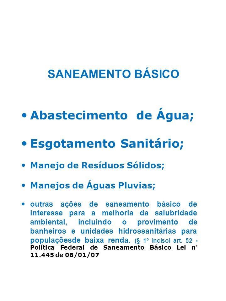 Abastecimento de Água; Esgotamento Sanitário;