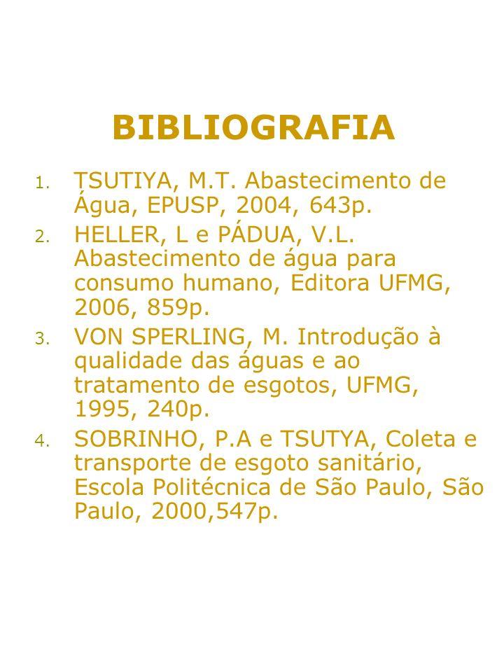 BIBLIOGRAFIA TSUTIYA, M.T. Abastecimento de Água, EPUSP, 2004, 643p.