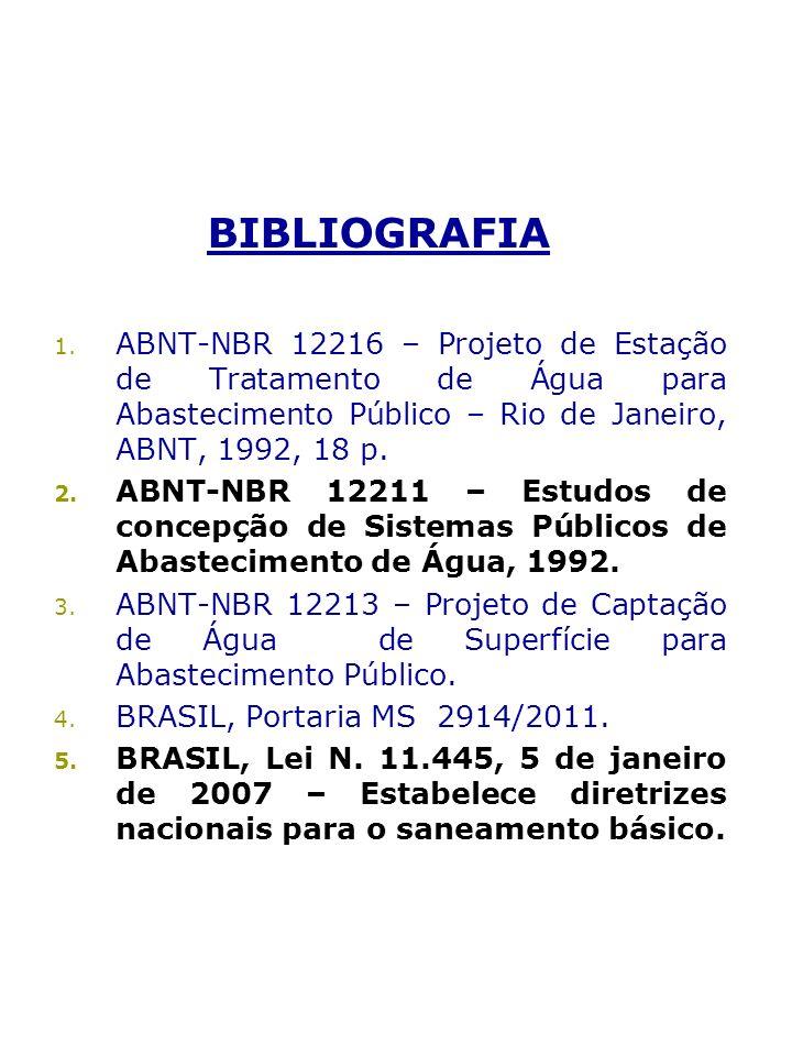 BIBLIOGRAFIA ABNT-NBR 12216 – Projeto de Estação de Tratamento de Água para Abastecimento Público – Rio de Janeiro, ABNT, 1992, 18 p.