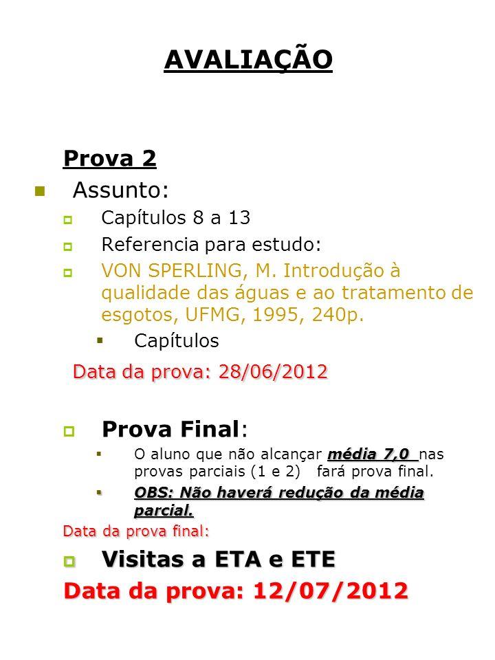 AVALIAÇÃO Prova 2 Assunto: Data da prova: 28/06/2012 Prova Final: