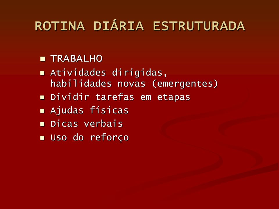 ROTINA DIÁRIA ESTRUTURADA