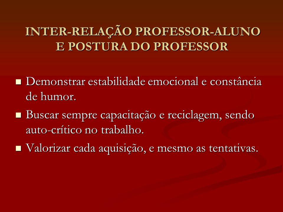 INTER-RELAÇÃO PROFESSOR-ALUNO E POSTURA DO PROFESSOR