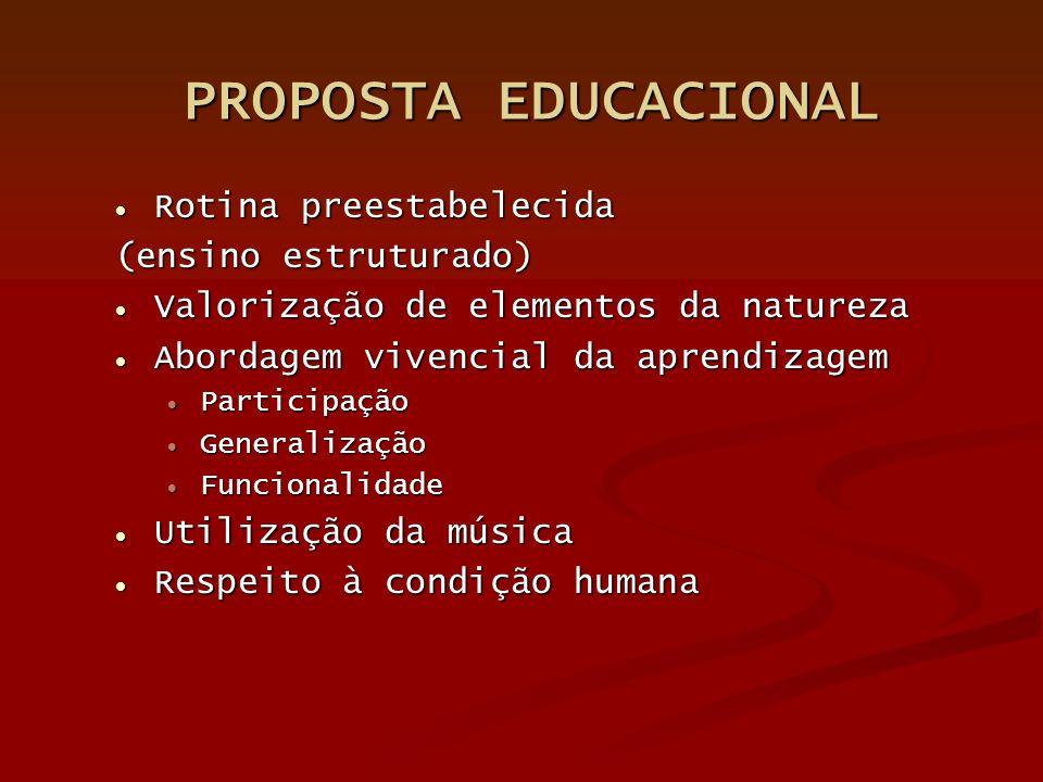 PROPOSTA EDUCACIONAL Rotina preestabelecida (ensino estruturado)