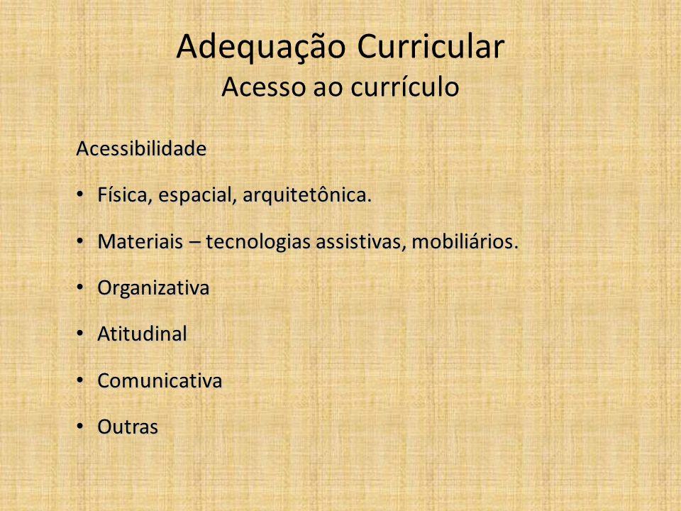 Adequação Curricular Acesso ao currículo