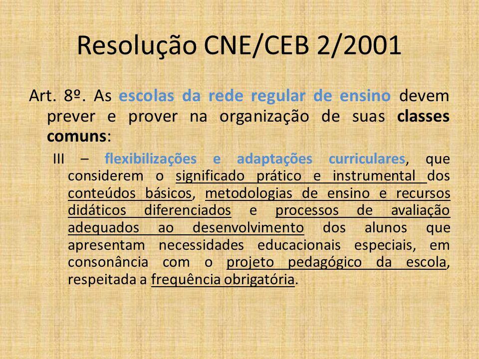 Resolução CNE/CEB 2/2001 Art. 8º. As escolas da rede regular de ensino devem prever e prover na organização de suas classes comuns: