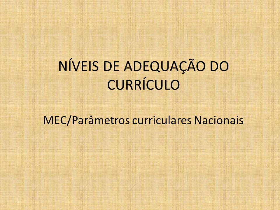 NÍVEIS DE ADEQUAÇÃO DO CURRÍCULO MEC/Parâmetros curriculares Nacionais