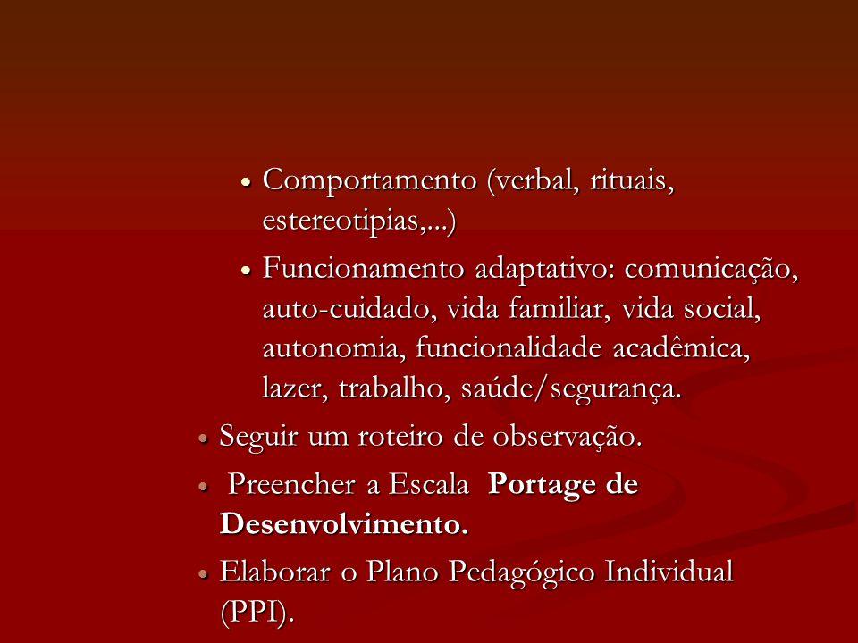 Comportamento (verbal, rituais, estereotipias,...)
