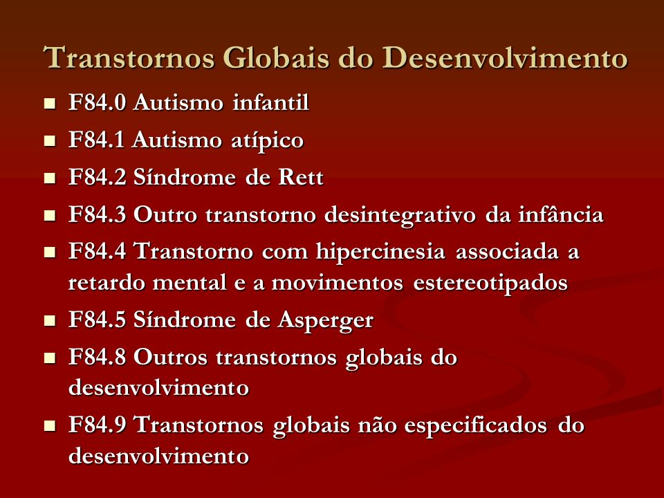 Transtornos Globais do Desenvolvimento