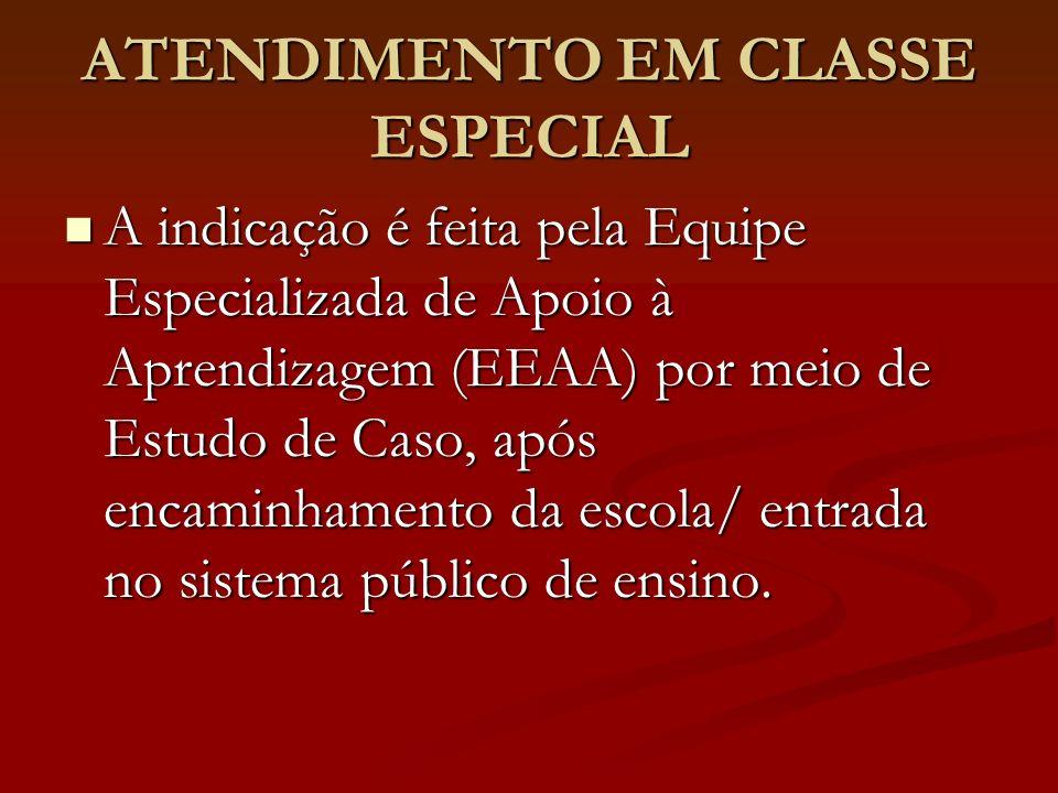 ATENDIMENTO EM CLASSE ESPECIAL