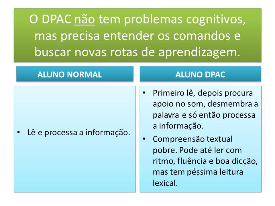 O DPAC não tem problemas cognitivos, mas precisa entender os comandos e buscar novas rotas de aprendizagem.