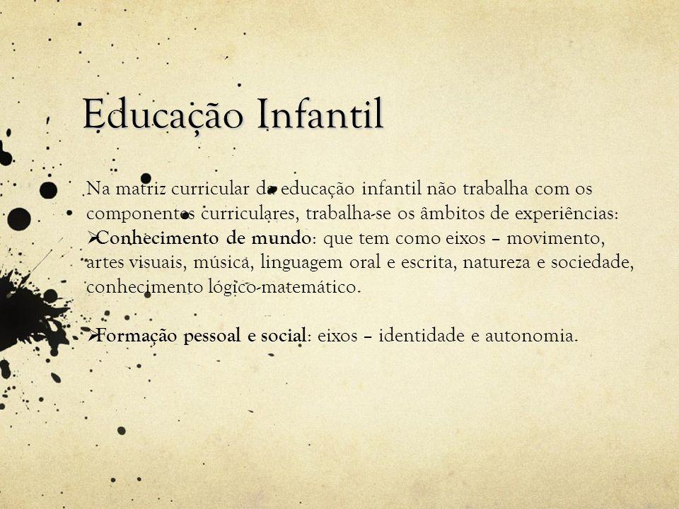 Educação InfantilNa matriz curricular da educação infantil não trabalha com os componentes curriculares, trabalha-se os âmbitos de experiências: