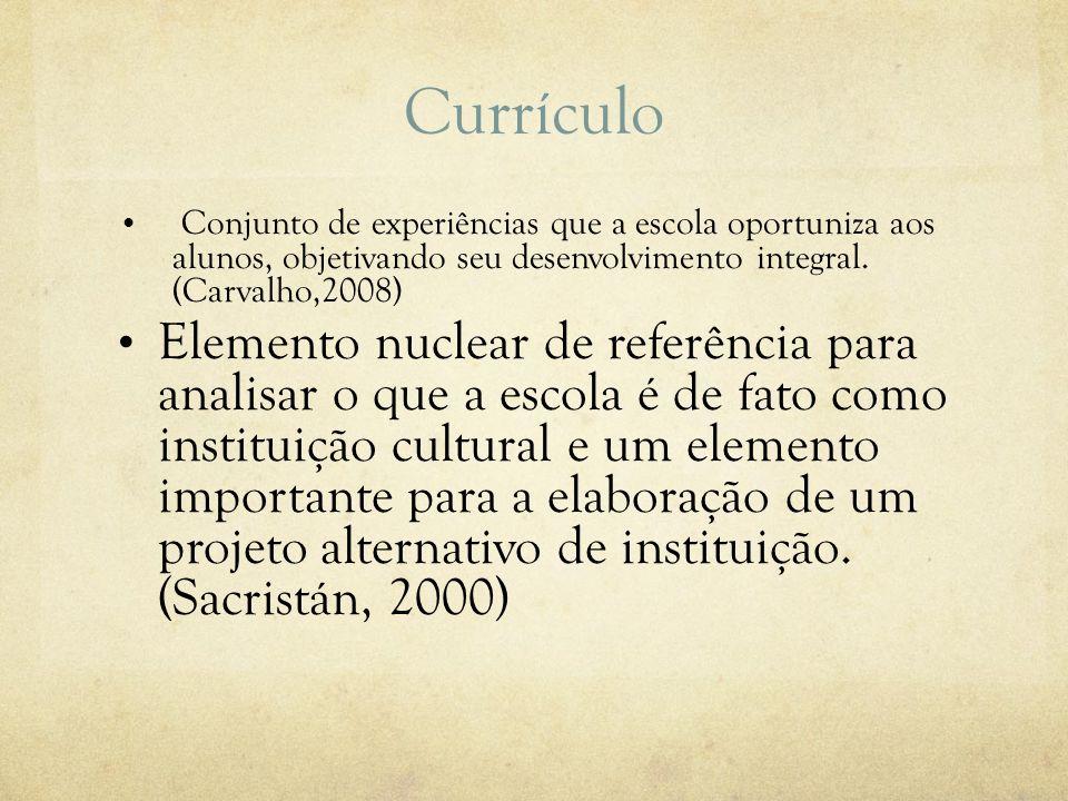 Currículo Conjunto de experiências que a escola oportuniza aos alunos, objetivando seu desenvolvimento integral. (Carvalho,2008)