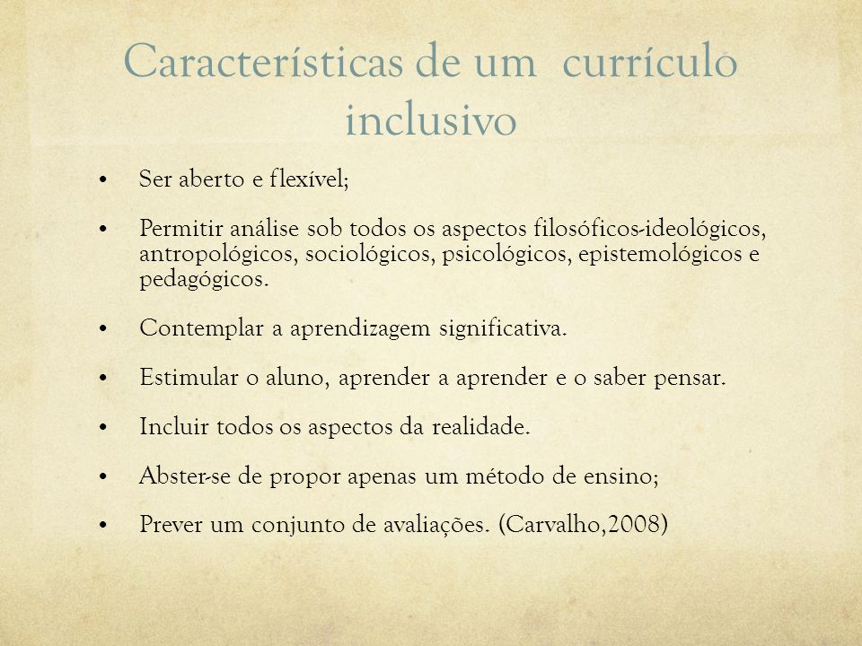 Características de um currículo inclusivo